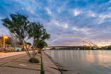 The Barqueta Bridge, whose real name is Mapfre Bridge, is a one-eye suspension bridge in Seville was designed by Juan Arenas de Pablo and Marcos Pantaleon Prieto.