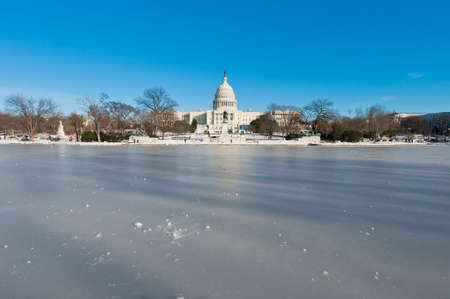 The White House building after a snow blizzard at the Mall in DC, USA Banco de Imagens