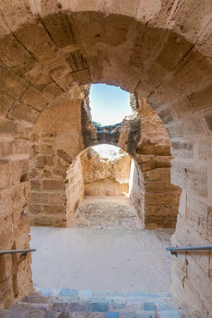 Amphitheatre of El Jem, an oval amphitheatre in the city of El Djem, Tunisia. Banco de Imagens
