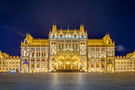 Hungarian Parliament Building (Orszaghaz) a notable landmark of Hungary and a popular tourist destination of Budapest. Banco de Imagens