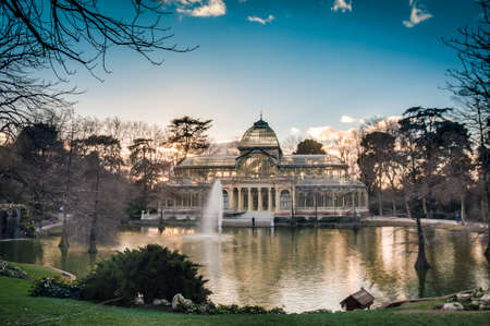 The Crystal Palace (Palacio de Cristal), a glass and metal structure built by Ricardo Velazquez Bosco in 1887 to exhibit flora and fauna from the Philippines on Buen Retiro Park in Madrid, Spain.