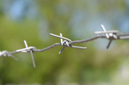 gunk: fence with barbed wire Stock Photo