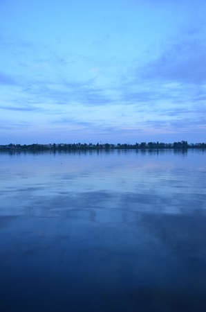 duskiness: reflection of the pond in the evening