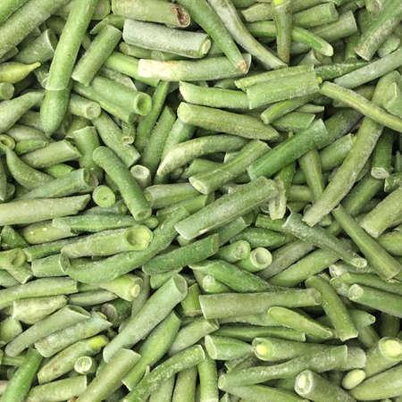 finished good: Frozen french beans. Close up. Whole background Stock Photo