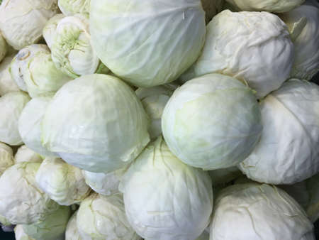 Cabbage at market as background Stock Photo
