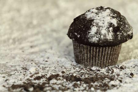 sucre glace: petit g�teau de chocolat avec du sucre glace, g�teau au chocolat avec du sucre glace sur la table en bois