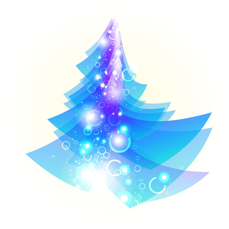 compliments: Bright blue Christmas tree on a white background