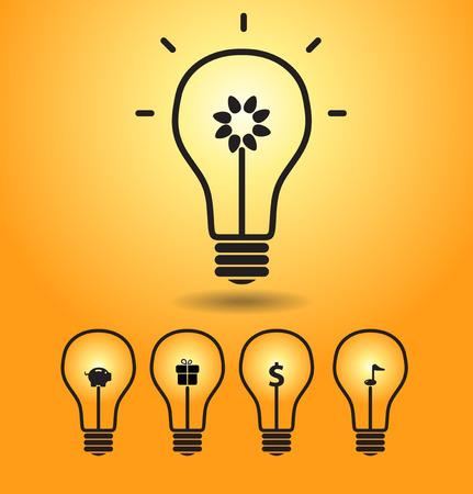 energysaving: Bulb light idea, energy-saving creative illustration Illustration