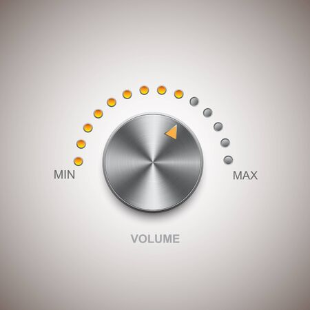 volume knob: Chrome metal volume and knob Illustration