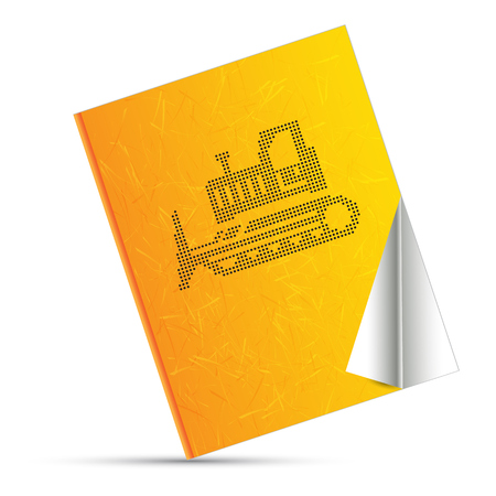 wheeled tractor: industrial yellow and book Illustration