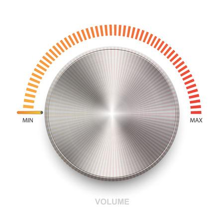 金属の質感とボリューム ボタン (音楽ノブ)