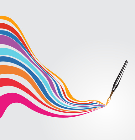 Paintbrush drawing a rainbow Vettoriali