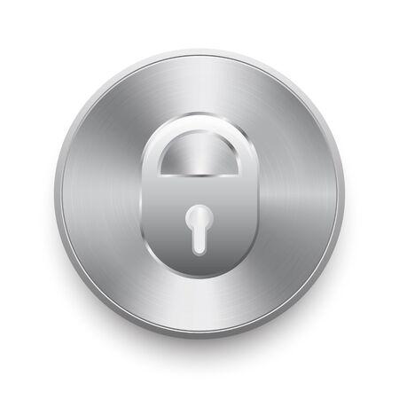 door sign: Iron lock on the metal button Illustration