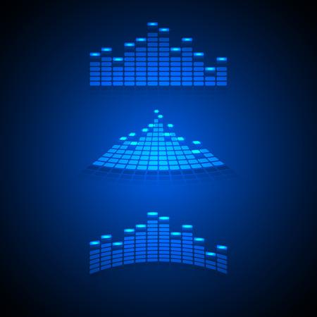 analyzer: Set of music equalizer illustration