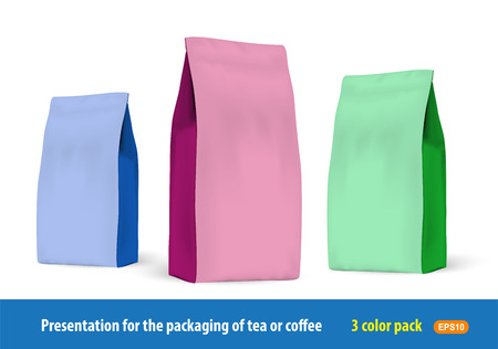 packets: Set of paper packets of 3 colors for the presentation of the companys products. Illustration