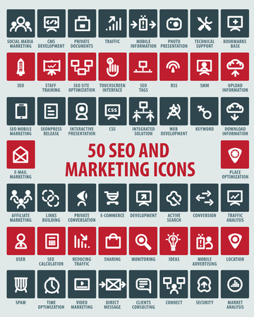 sharing information: vector SEO and marketing icons Illustration