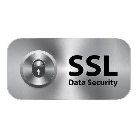 https: SSL data security and vector illustration