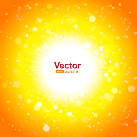 Hot sun and bright rays and vector illustration Illustration