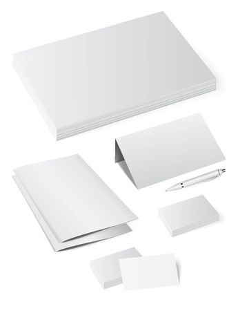 Template booklet folder for papers, a4 sheets, business cards, labels and badges Vectores