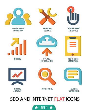 keywords link: Flat set icons for Web and Mobile Applications and vector illustration Illustration