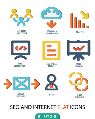 smm: Flat set 2 icons for Web and Mobile Applications and vector illustration