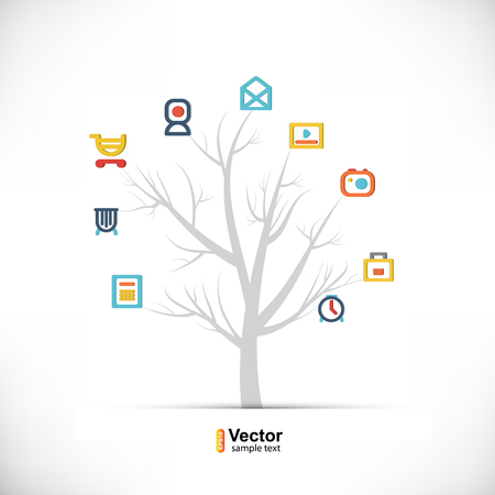 Technology tree, business and branching paths and vector illustration