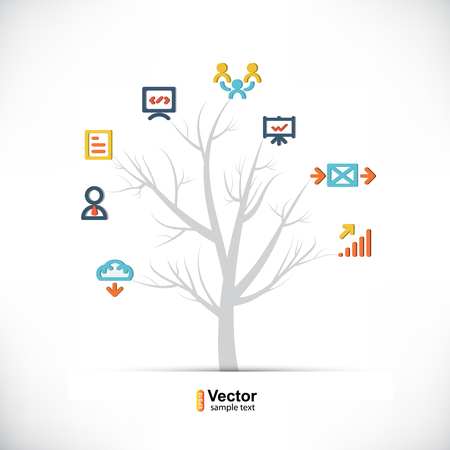 branching: Technology tree, business and branching paths and vector illustration