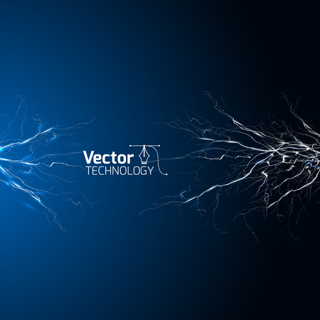 streak lightning: electrical white blue lightnings over dark background and vector illustration Illustration