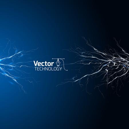 electrical white blue lightnings over dark background and vector illustration Illustration