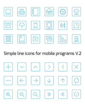 fine lines: Icons in the form of fine lines Illustration