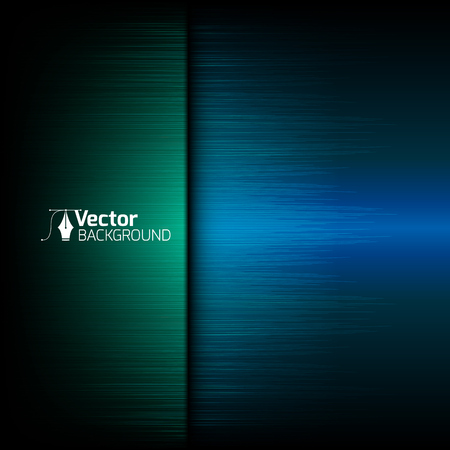 Tech blue background with green lines and vector illustration