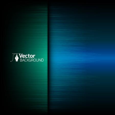 Tech blauwe achtergrond met groene lijnen en vector illustratie Vector Illustratie