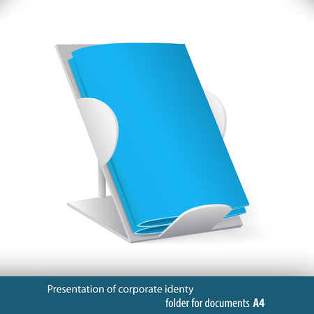 Blue folders for office and business and vector illustration