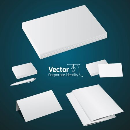 set of office printing products, mock up  and vector illustration