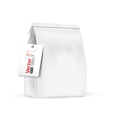 white paper bag: White paper bag for bulk products, tea, coffee, spices. Package prezantation your products. Illustration