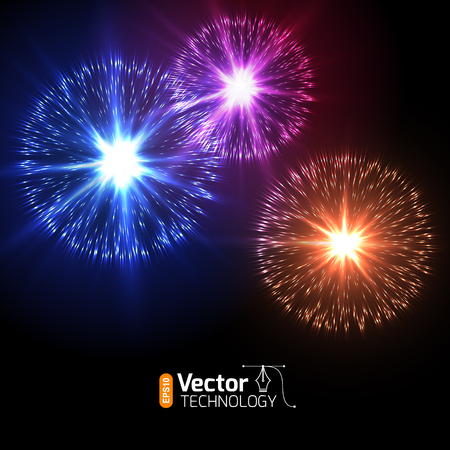 agleam: Realistic Vector fireworks exploding in the night sky
