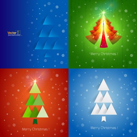 broadsheet: Template Christmas greetings on the bright blue background with Christmas tree and snowflakes