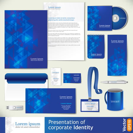 Blue corporate identity template with digital elements. Vector company style for brandbook and guideline. Stok Fotoğraf - 88070372