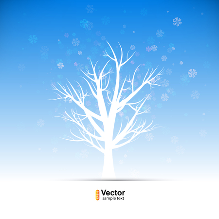 sleet: Tree in snow blizzard, merry christmas