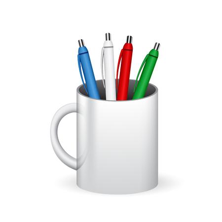ball pens stationery: Plumas de colores en un vaso, taza Vectores