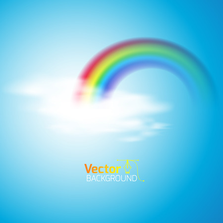 rainbow with clouds, vector illustration
