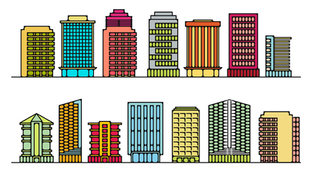 A set of buildings for office on white background.