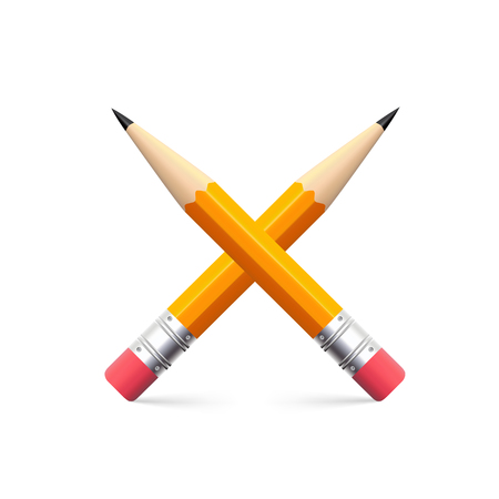 grafit: Icon of simple pencil for sketching, on white backdrop.