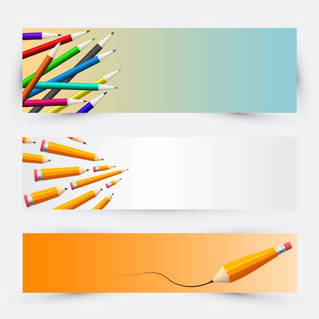set of banners for the school with pencils and drawing Illustration