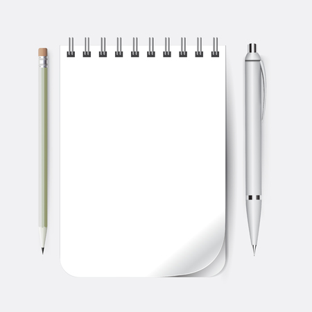 Notepad with pen and pencil for notes