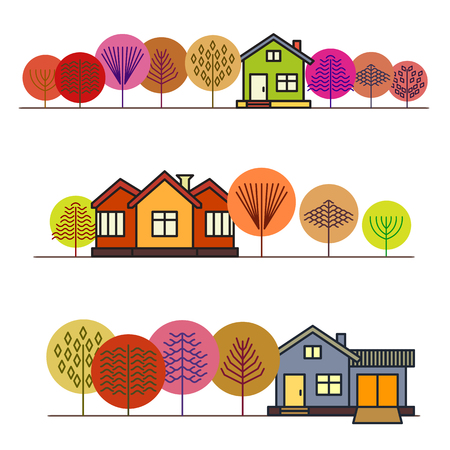 Autumn forest in colorful trees, autumn house, cottage in the woods