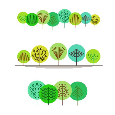 Minimalist composition of trees, green forest, sketches lines and simple shapes