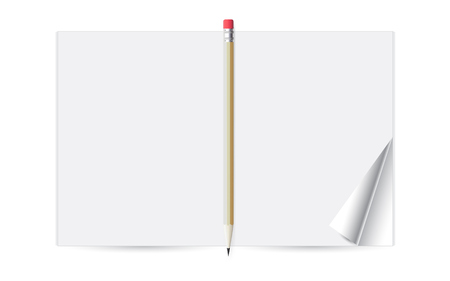 Notebook with a pencil for note, vector illustration on white background.