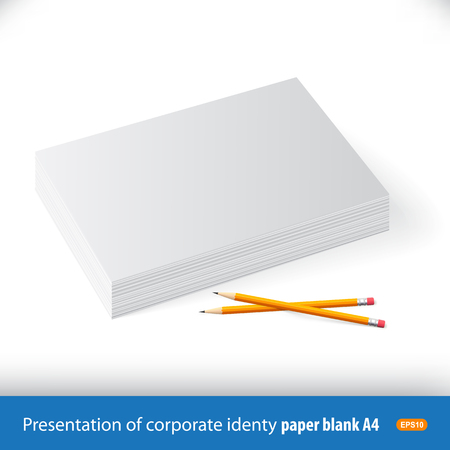 Template, mockup stack of white paper with pencils.