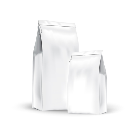 White set paper bags for bulk products, tea, coffee, spices.